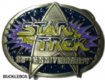 STAR TREK 25th Anniversary Belt Buckle + display stand
